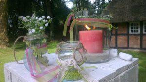 Kerze zur Willkommensfeier